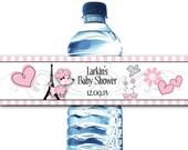 10 Waterproof Peel & Stick Water Bottle Labels, Pink French Poodle, Paris, Eiffel Tower, Bridal Shower, Baby Shower, Birthday