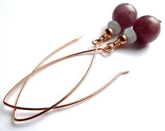 Rose gold earrings, modern long dangle drops, unique ooak, kunzite,  aquamarine gemstone drop earrings, free shipping
