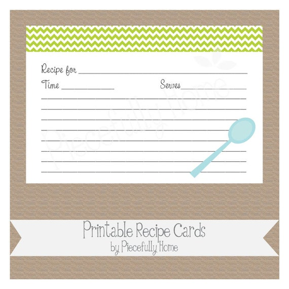 items similar to printable 4x6 recipe card