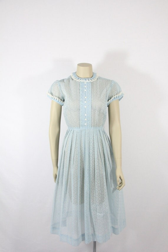 1950s Vintage Dress Semi Sheer Swiss Dot and Flocked Chiffon