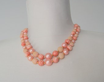 Vintage Pink  Double Strand beaded Necklace