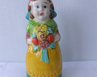 Vintage Dutch Girl Lady with Yellow Apron and Flowers Salt or Pepper Shaker Japan Kitchen Old Fashioned