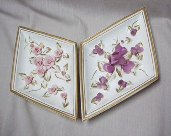 Vintage Diamond Floral Wall Hanging Plaques