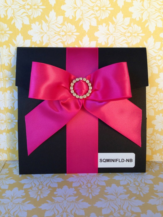 50 Black Square Pocket fold with Hot Pink Bow & Round Rhinestone Buckle Wedding Invitations - 15th, 16th, 18th, 21st,  40th, 60th, Wedding