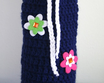 Navy blue crochet Wine Tote with flowers