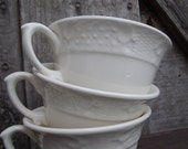 Vintage Cups Creamy White Pottery Set of 3