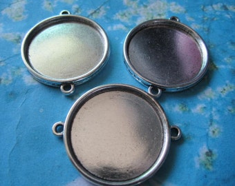 10pcs tibetan silver 30mm round bezel base/picture frame setting connectors