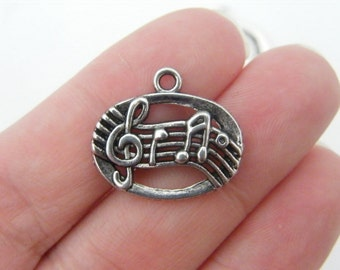 BULK 50 Music note charms antique silver tone MN9