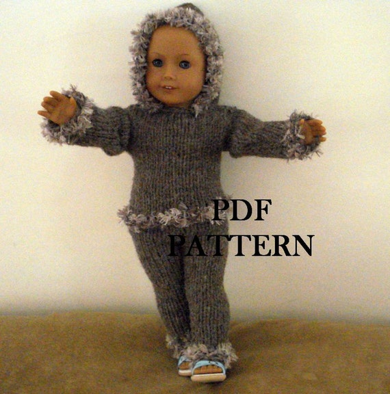 Knitting Pattern For Dolls Trousers : Knit Hoodie and Pants Pattern for American Girl Doll by LoveNYarn
