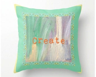 MINT and PEACH PILLOW for Creative People, gift for artists, gift for photographers, gift for crafters, accent cushion, pillow cushion cover
