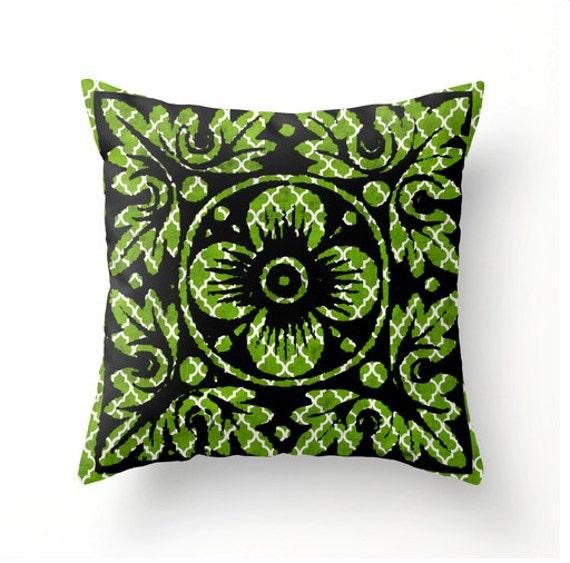 Items similar to Decorative Throw Pillow GO GREEN tile design - accent cushion home decor ...