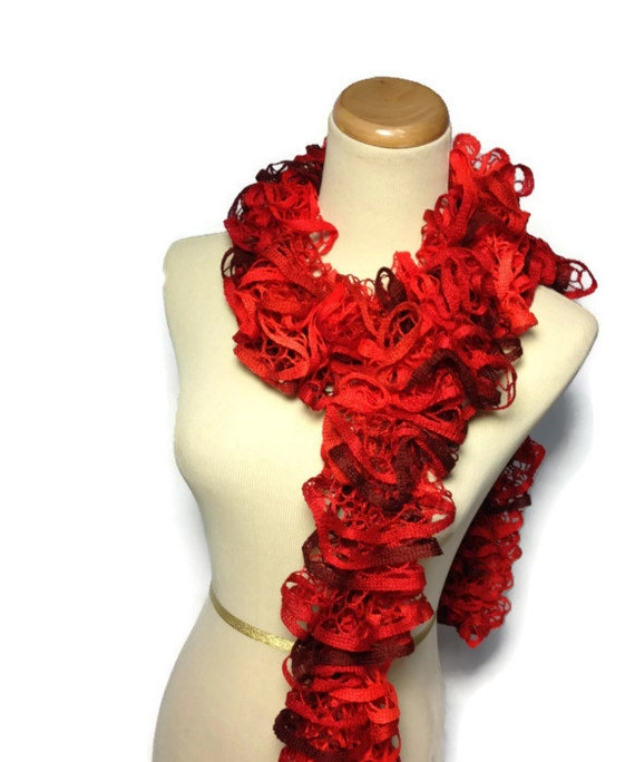 Red Ruffle Scarf - Hand Knit Scarf