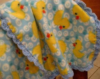 Duckies Print Fleece Baby Boy or Girl Blanket With Baby Blue Shell Crochet Edge