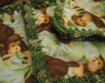 Baby Boy Fleece With Jungle Monkeys Boy Baby Blanket With Green Shell Crochet Edge