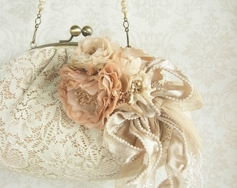 hand dyed corsage and purse, millefeuille, lace purse, floral purse, wedding purse, bridal purse, romantic purse, lace and pearls, ooak