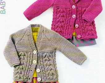 Sale****BABY KNITTING PATTERN - Cabled Chunky Jackets/Cardigans/Sweaters - 6 mos to 7 years included