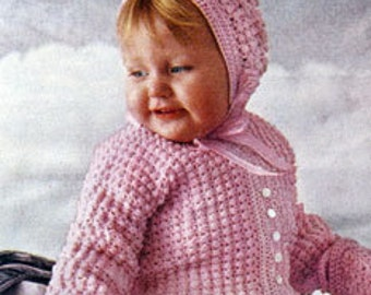 Baby CROCHET Pattern  - Baby/Infant Sacque (Jacket) Bonnet and Booties
