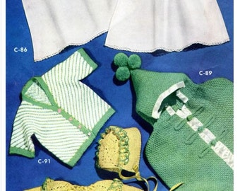 SALE **** Vintage Baby Knitting and Crochet PATTERN - Baby's Layette, Sweater, Hooded Bunting, Crochet jacket and bonnet