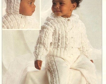 Baby Knitting PATTERN - Hooded Jacket and Trousers - DK - 14 to 22 ins chest sizes Prem included