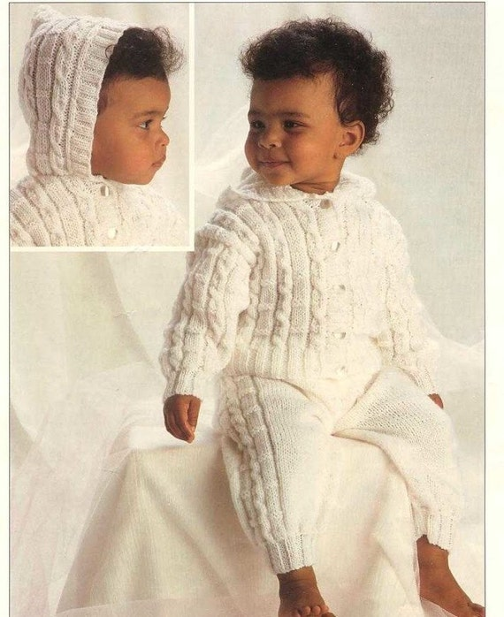 Knitting Pattern Baby Hooded Jacket : Baby Knitting PATTERN Hooded Jacket and Trousers DK 14