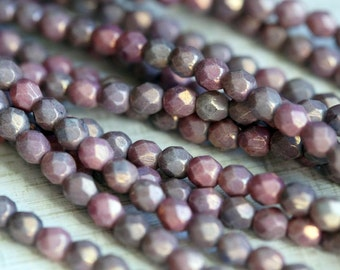 6mm Purple Luster Faceted Beads - Czech Glass Beads - Faceted Rounds - Bead Soup Beads
