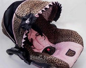 Kitty Collection/Cheetah with Light Pink Minky Infant car seat cover 5 piece set