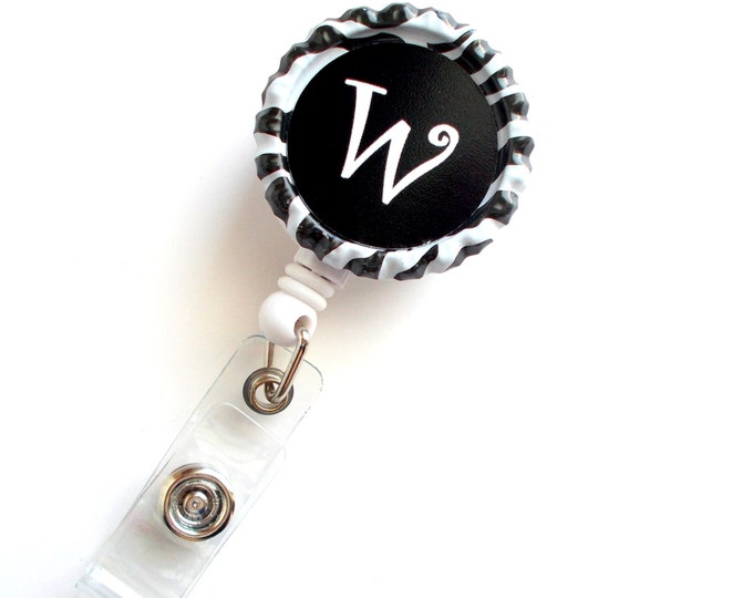 Personalized Initial Zebra - Nursing Badge Reel - Nurse - Nurses Badge Holder - Custom Badge - Cute Badge Clip - Teacher Badge Reel