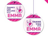 "Pink Bowling Party - Personalized DIY printable 2"" favor circles"