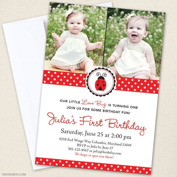 Ladybug Party Photo Invitations - Professionally printed - Printable file also available
