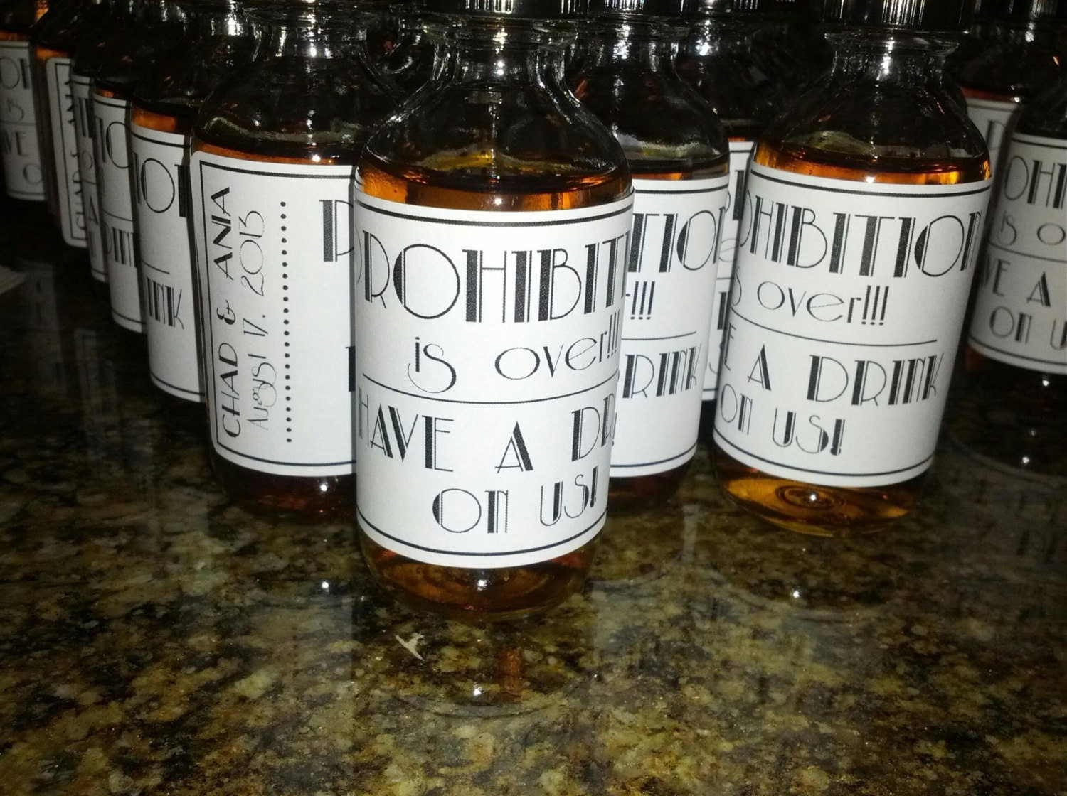 Custom Prohibition is Over. Mini Bottle Labels, Wedding Favors, Mini ...