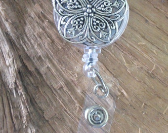 Silver Filigree Flower..Retractable ID Badge Holder Reel