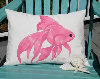 """Outdoor pillow PINK GOLDFISH lumbar gold fish 15""""x20"""" painted all weather fishbowl fins pet aquarium Crabby Chris Original"""