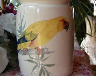 Yellow Red Lored Amazon Parrot Ceramic Tea Light Tart Burner