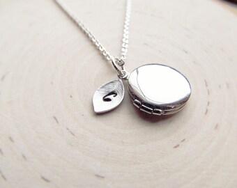 Personalized Locket Necklace, Silver Locket, Silver Initial Necklace, Tiny Locket, Initial Necklace, Bridesmaid Gift, Graduation Gift
