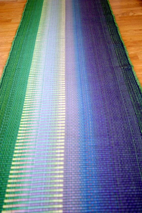 Items similar to Rag Rug Runner Purple Green Kitchen Rug