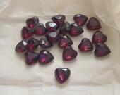 Vintage Czech Rhinestones Foiled Amethyst Hearts 15/14 21 Pieces