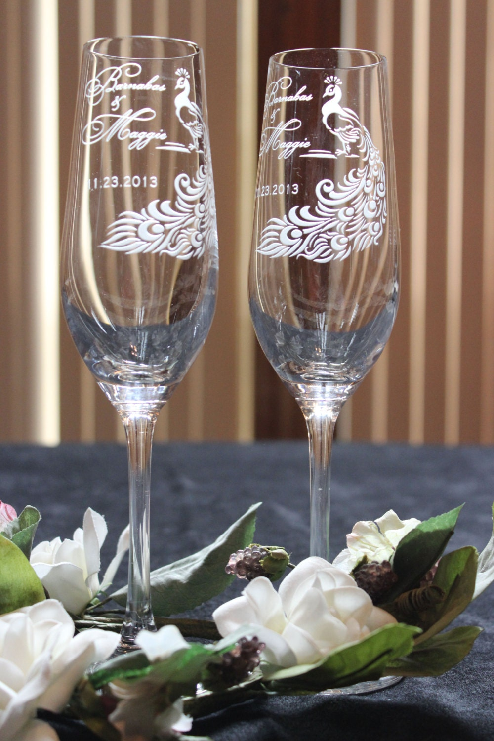 peacock feather personalized wedding toasting glasses design
