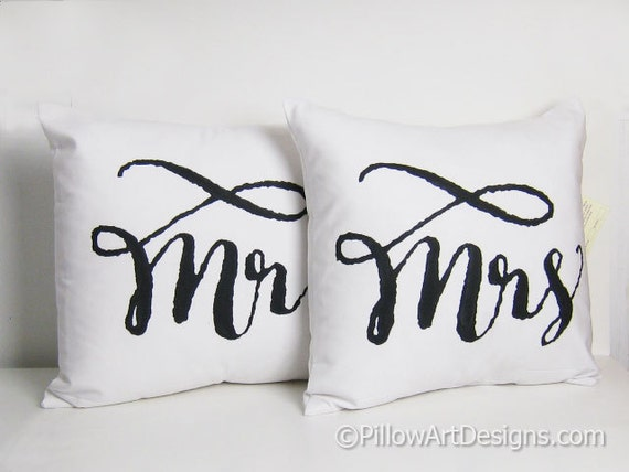 Mr and mrs pillow covers black white fully by