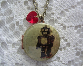 VIntage Robot Locket with Crystal Heart