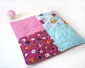 Catnip quilt, small cat quilt, cat blanket,  toy blanket, organic catnip mat, pink and blue