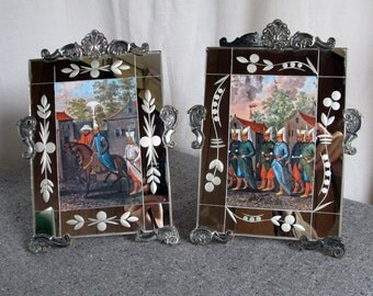 Italian Neo Baroque Art Deco Mirrored Frames Pair 1930s 1940s Hollywood Regency Solid Silver Sterling Mounts Portugal