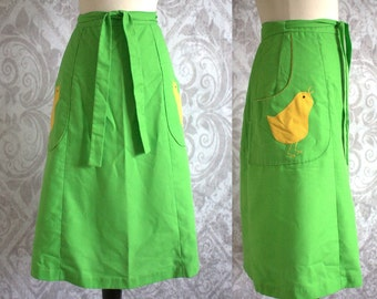 Vintage 1970s Skirt Green Wraparound Appliqued Baby Chick 70s Skirt Womens Small Medium