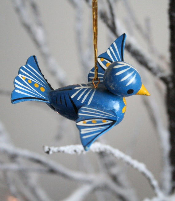 Vintage Christmas Ornament Blue Bird Vintage Ornament