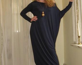 Asymmetric Boho Dress Off Shoulder Dress Long Loose Maxi Dress Long Sleeve Maternity XSmall - XLarge  (More Colours) Rayon/Spandex Jersey