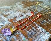 Long Amethyst and Coral Statement Necklace