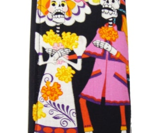 US Handmade Woman Wallet with Wedding LOS NOVIOS  skeleton exterior  Handmade Alexander Henry Cotton  Fabric, New, Rare