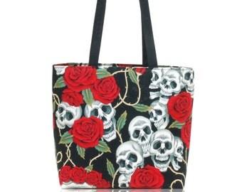 USA Handmade Handbag Shoulder Bag With, Skulls Red Roses Tattoo Pattern Alexander Henry Cotton Fabric , New, Rare
