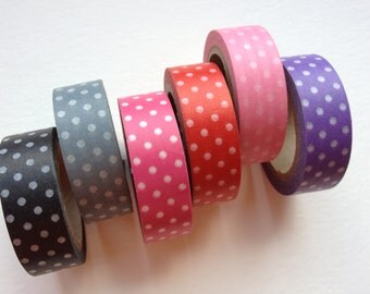 Washi Tape -  White Polka Dots on Colors (Choose One)