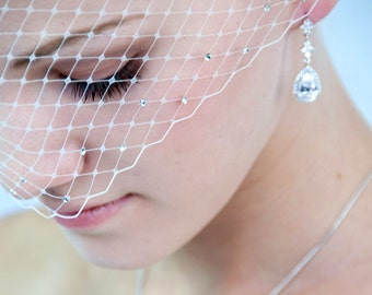 Bling-bling bridal Birdcage Veil With Swarovski Crystal Rhinestone Wedding Reception