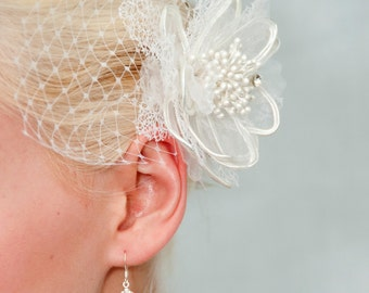 White Hair flower Swarovski Crystal Rhinestone hair clip or comb wedding headpiece  Fascinator WHS2